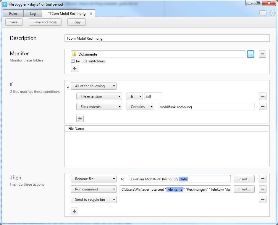 FileJuggler kann auch PDF-Inhalte lesen und danach handeln