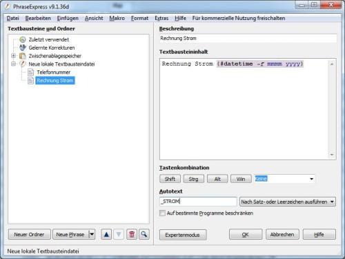 """In diesem Beispiel wird bei Eingabe von """"_STROM"""" automatisch """"Rechnung Strom Juli 2013"""" geschrieben"""