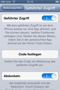 """Den Modus """"Geführter Zugriff"""" aktiviert man systemweit. Man kann noch konfigurieren, dass sich der Bildschirm automatisch ausschaltet, wenn man möchte."""