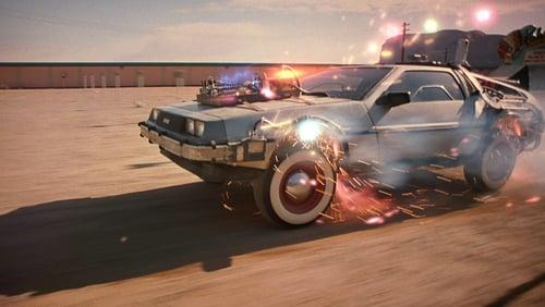 Der DeLorean im Western, mit Blitzen an der Karosserie - kurz vor der Zeitreise