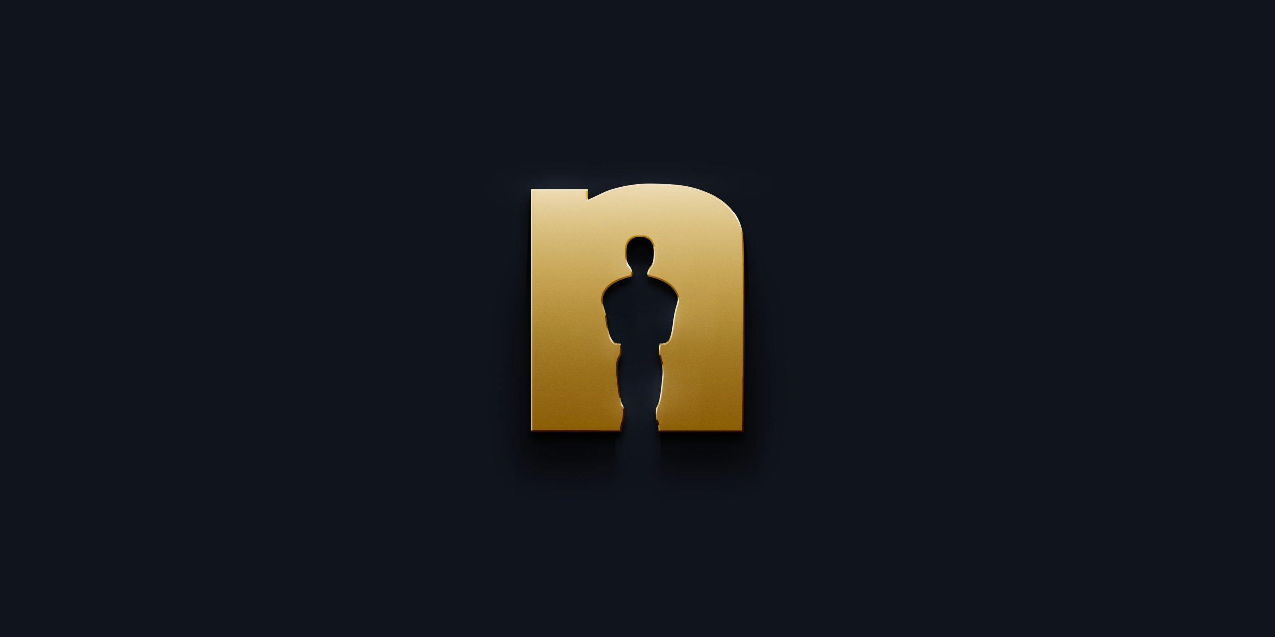 Das goldene Nerdtalk-n auf schwarzem Hintergrund, mit einer Oscar-Silhouette im N