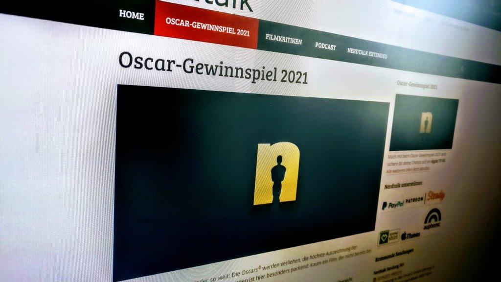 Ein Foto vom Bildschirm, das den Artikel des Oscar-Gewinnspiels 2021 zeig